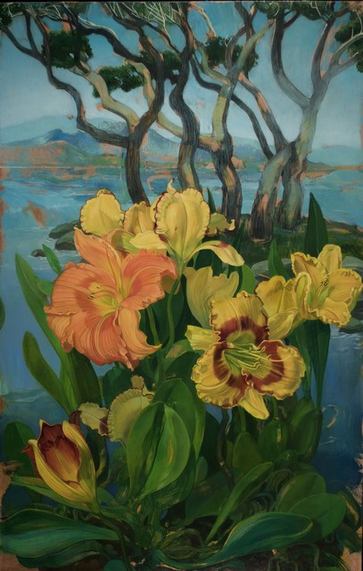 , 'Day Lilies and Grove of Trees,' 2018, LeMieux Galleries