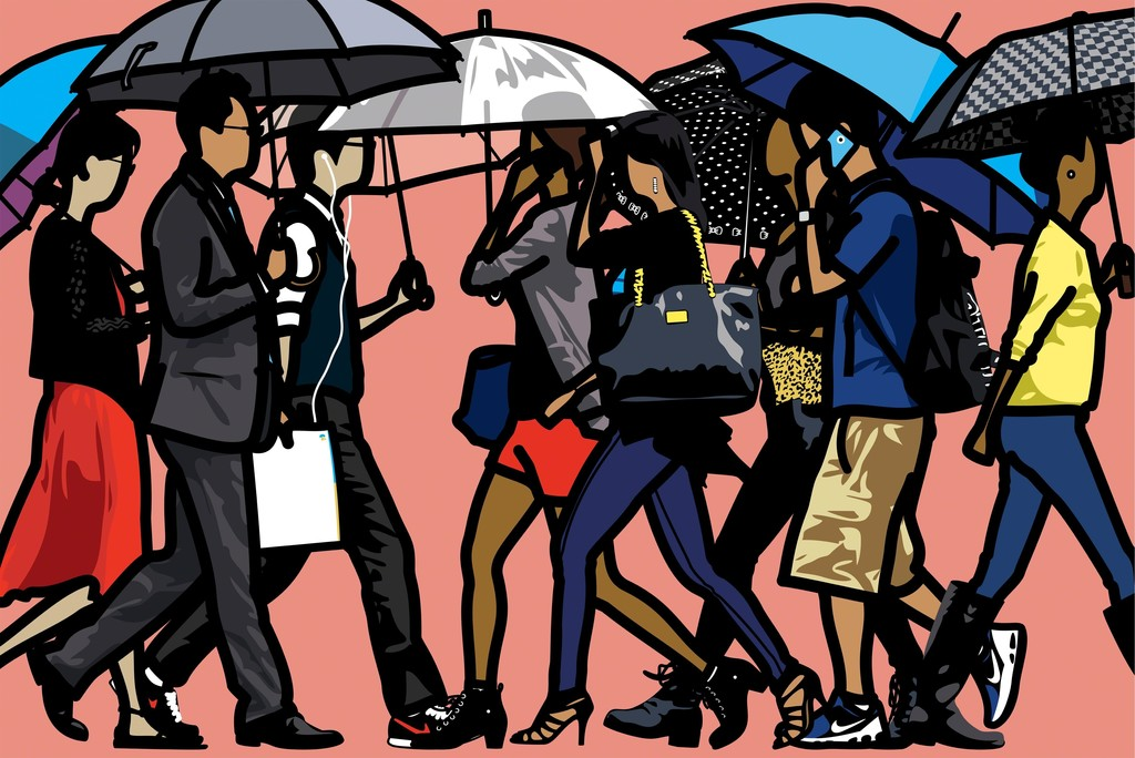 """Walking in the rain, Seoul"" by Julian Opie © Julian Opie. All rights reserved, DACS 2015 Courtesy Julian Opie and Alan Cristea Gallery"