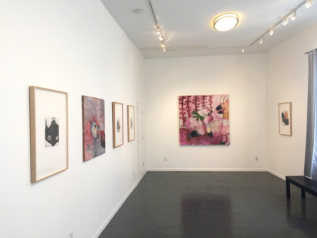 Livia Stein: New Work, gallery shot with Pink Monsters.