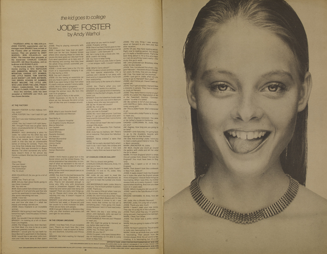Andy Warhol, 'Interview, Jodie Foster', 1980, Mixed Media, Felt pen on the magazine cover, Itineris