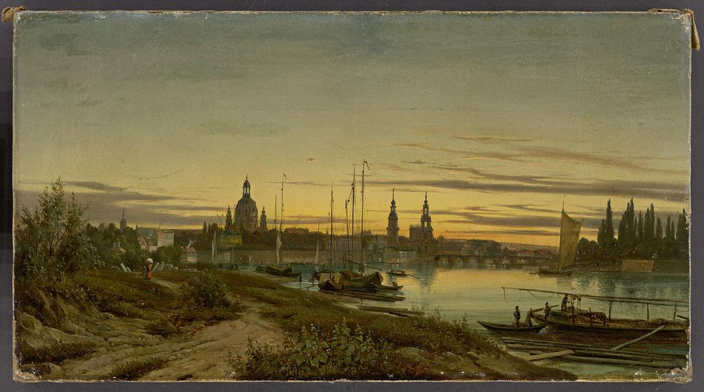 Anonym, Dresden im Abendlicht, um 1850-60, 24,5 x 45 cm © Villa Grisebach, Berlin, Olbricht Collection