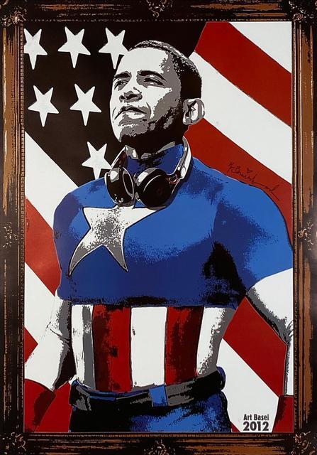 Mr. Brainwash, 'Obama Captain America', 2012, Print, Offset lithograph print on satin poster paper, Samhart Gallery