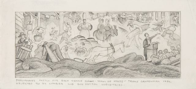 , 'Preliminary Sketch for East Texas Room - Hall of State - Texas Centennial,' 1936, Valley House Gallery & Sculpture Garden