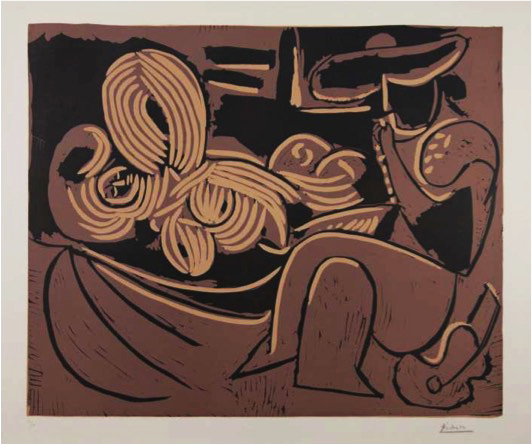 Pablo Picasso, 'Femme Couchée et Homme a la Guitare', 1959, Mixed Media, Color linocut.  Signed and numbered 31/50 in pencil, lower margin, LaMantia Fine Art Inc.
