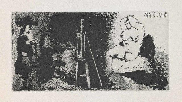 Pablo Picasso, 'Painter, Model and Visitor (La Célestine, B.1596)', 1968, Martin Lawrence Galleries