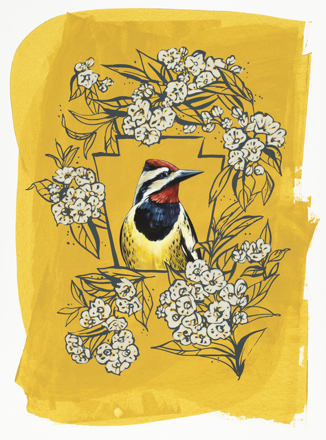 , 'Yellow-bellied Sapsucker on Yellow,' 2016, BoxHeart