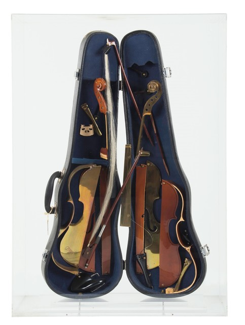 Arman, 'Untitled', 2000, Painting, Wooden and bronze fiddle parts attached to a fiddle case., Cambi