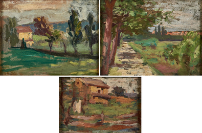 Three works of art: Untitled (Yellow House with Poplar Trees); Untitled (House in Landscape); Untitled (Landscape with Path)
