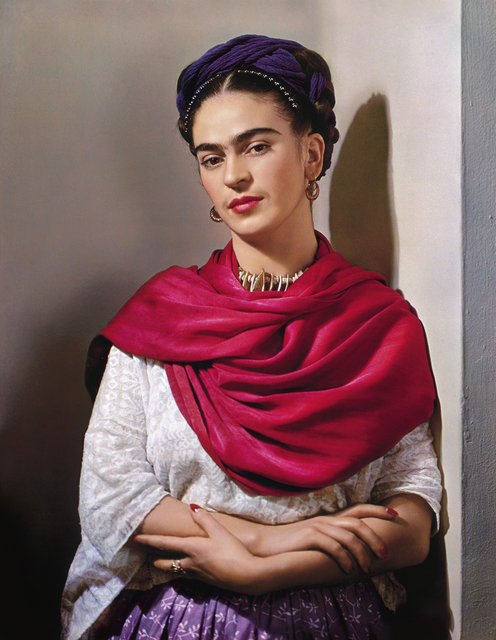 ", 'Frida Kahlo with Magenta Rebozo ""Classic"",' 1939, Throckmorton Fine Art"
