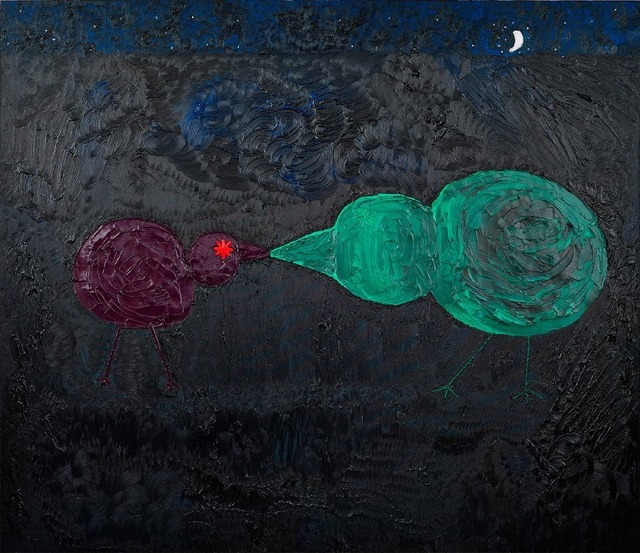 , 'Kissing Chicks with Silver Moon,' 2015, Nicodim Gallery