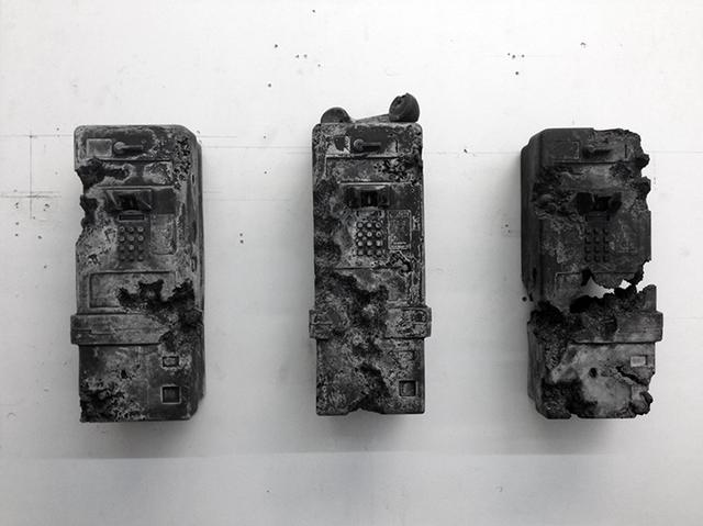 , 'Three Ash Eroded Payphones,' 2014, Baró Galeria