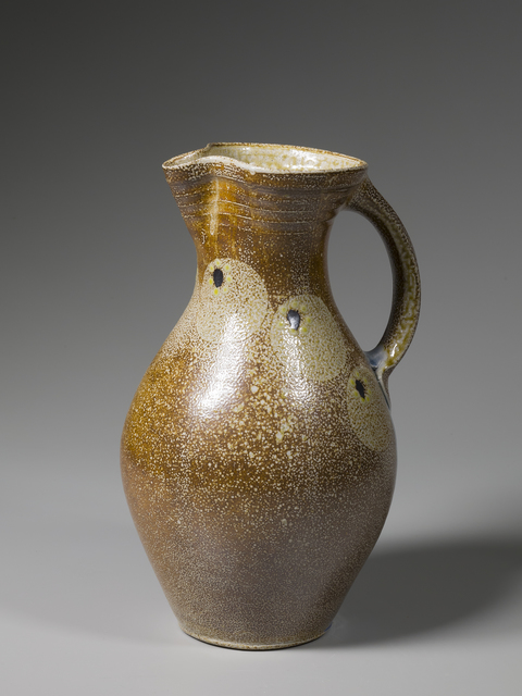 , 'Pitcher, kaolin slip with salt glazed circles, black and yellow dots, and blue glass run on handle,' 2016, Pucker Gallery