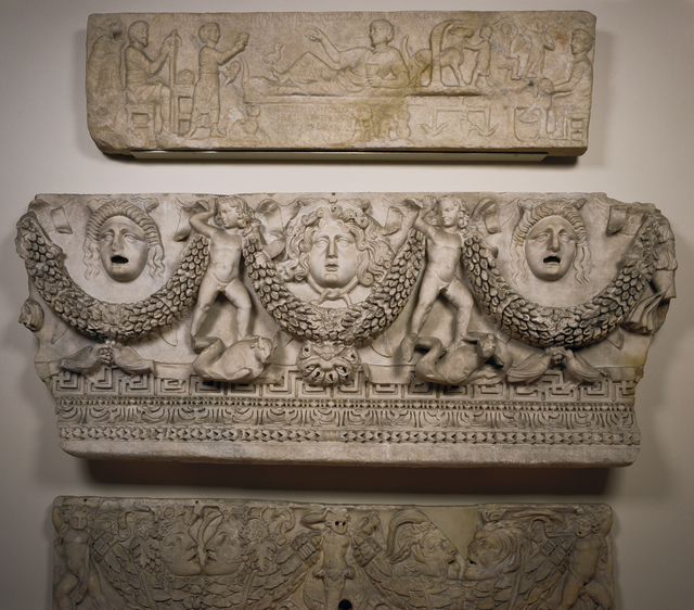 'Front Panel of a Garland Sarcophagus', ca. 140 -170, J. Paul Getty Museum