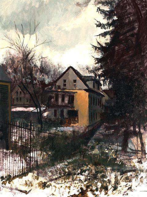 , 'Yellow House in the Snow,' 2018, William Baczek Fine Arts