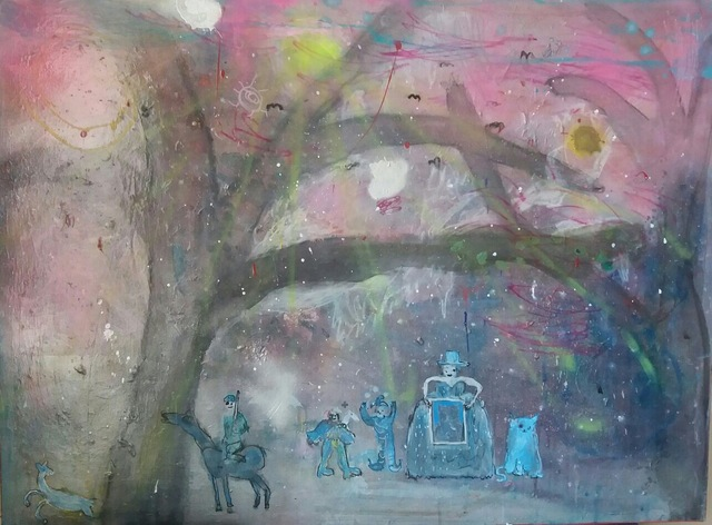 , 'The big brat in the top hat with a framed pic of a fat cat, and a fat cat, and the two twats and the bats, and the pink skies, and the prize and the trap ,' 2017, Gibbons & Nicholas