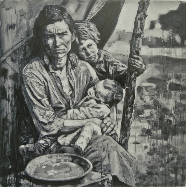 Hung Liu 刘虹, 'Migrant Mother 1/3', Print, Mixed media and resin on panel, Gail Severn Gallery