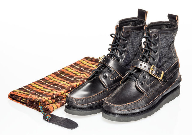 Yuketen X Vibram Maine, 'Maine Guide Boots- Black Camo', Other, Moccasin construction boot made from leahter and wool, Heritage Auctions