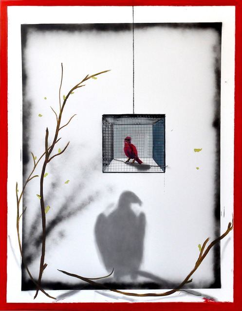 Stéphane Pencréac'h, 'La Cage', 2017, Painting, Oil painting and metal on canvas, Mazel Galerie