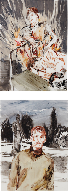 Hernan Bas, 'Two Works: (i) Your Private Friend (ii) Brandon, 16, Satanist, UK', 2002, Painting, Water-based oil on vellum, Phillips