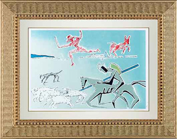 ", '""Don Quixote: The Warrior's Heard"" Hand Signed Salvador Dali Lithograph,' 1941-1957, Elena Bulatova Fine Art"