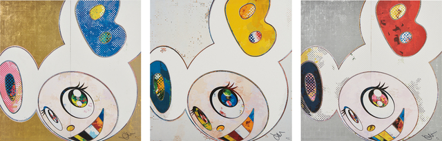 Takashi Murakami, 'And then x 6 (White: The Superflat Method. Blue and Yellow Ears); DOB in Pure White Robe (Navy & Vermillion); and DOB in Pure White Robe (Pink & Blue)', 2013, Phillips