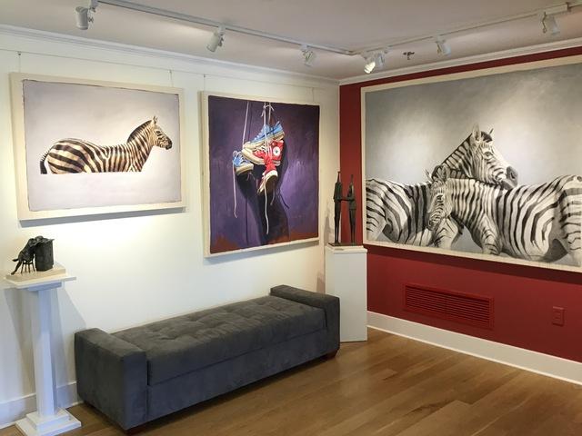 "Santiago Garcia, '""#57"" side portrait of black and white zebra on grey background', 2010-2017, Eisenhauer Gallery"