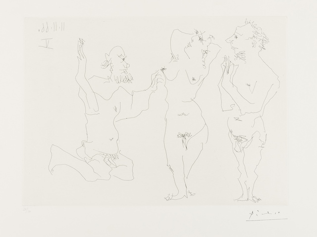 Pablo Picasso, 'Two Old Men Courting Nude (Bloch 1411)', 1966, Print, Etching, Forum Auctions