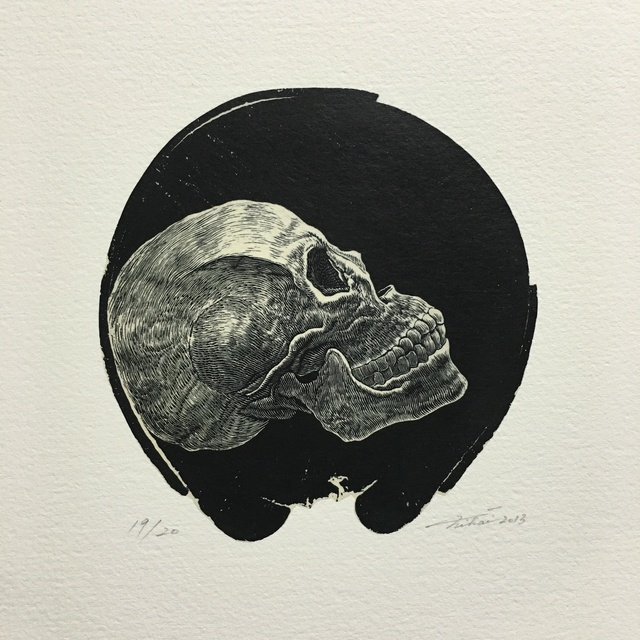 Takehiro Nikai, 'Skull-2', 2013, Drawing, Collage or other Work on Paper, Print from wood engraving, Micheko Galerie