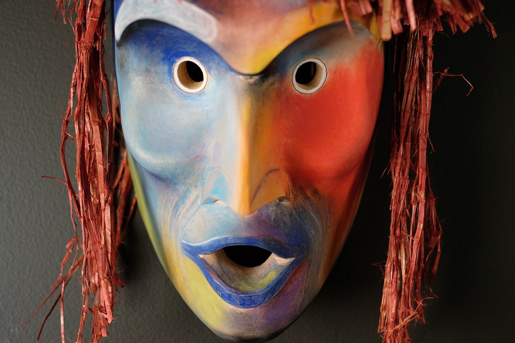 """Wildman of the Universe"" by Joe David (Nuu-chah-nulth) Red Cedar, Pigments, Dyed Cedar Bark 24""h x 10""w x 9""d"