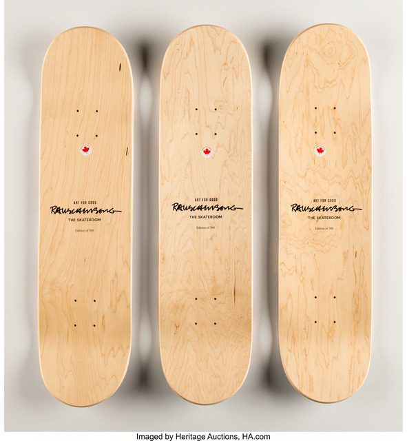 Robert Rauschenberg, 'Overdrive, triptych', 2016, Print, Screenprints in colors on skate decks, Heritage Auctions