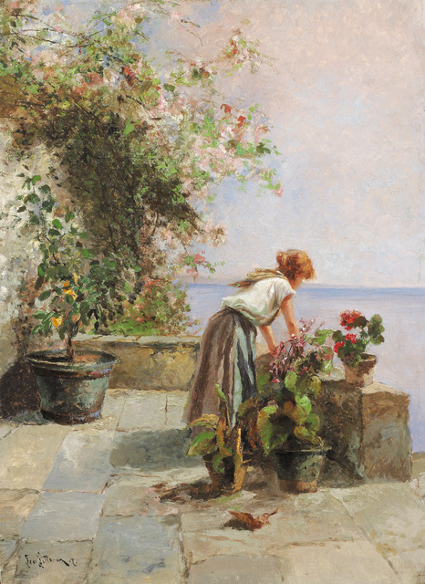 , 'Girl on the Terrace with Flowers,' 1881, Galerie Kovacek