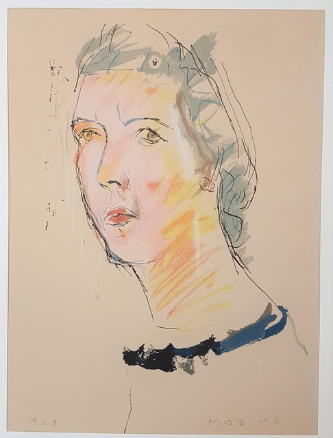 """Marino Marini, 'Portrait of Mary - From """"A Suite of Sixty-three Re-creations of Drawings and Sketches in Many Mediums"""" ', 1968, Print, Lithograph 