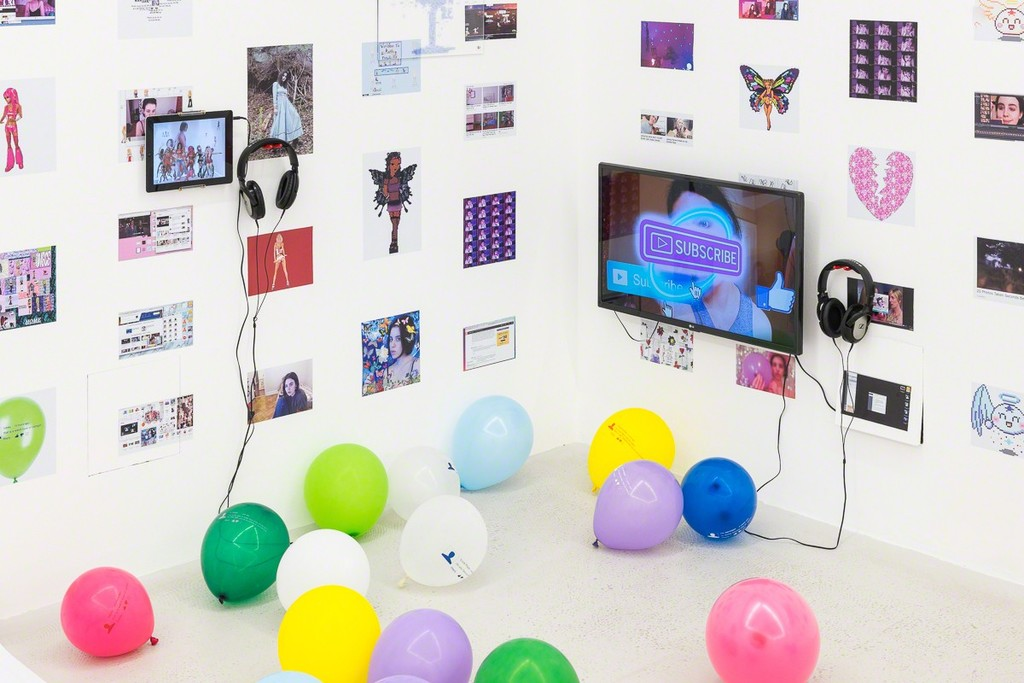 Installation view of Molly Soda 'Me and My Gurls' at Annka Kultys Gallery, London 2018. Photo: Annka Kultys Gallery (Damian Griffiths)