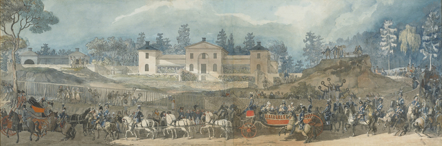 , 'Royal procession at Manilla, Royal Djurgården, Stockholm, before the house of Don Ignacio María de Corral y Aguirre, Minister of Spain in Sweden and confidant of King Gustav III,' ca. 1788-1793, Didier Aaron