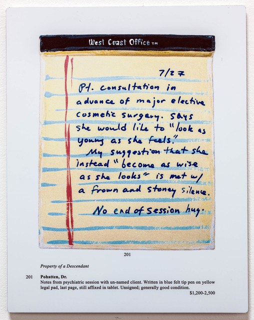 , 'Auction Page (Dr's Notes: Consultation),' 2013, Rosamund Felsen Gallery