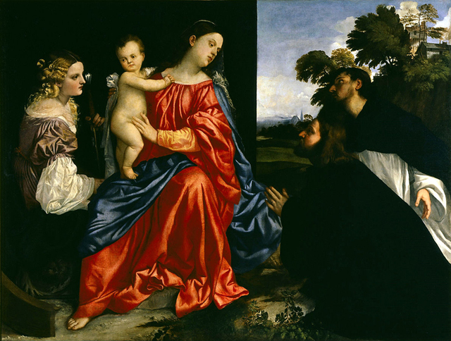 , 'Madonna and Child with Saints Catherine of Alexandria and Dominic, and a Donor,' About 1513, Denver Art Museum