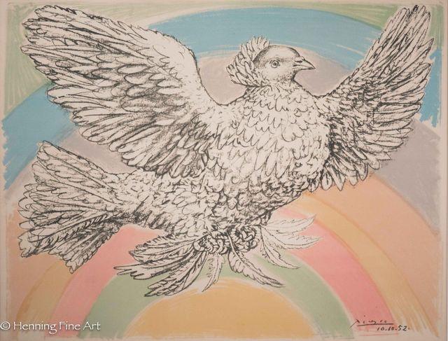 "Pablo Picasso, 'Peace Dove with Rainbow, ""Colombe Volant d'Arc en Ciel""', 1952, Print, Lithograph on Arches Paper, Henning Fine Art"