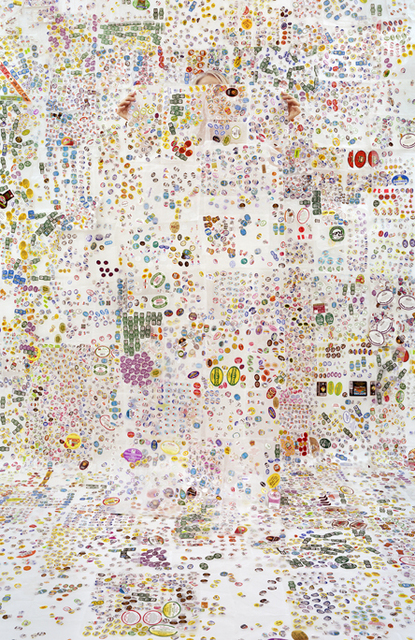 , 'Lost In My Life (Fruit Stickers with Wax Paper),' 2014, Yancey Richardson Gallery