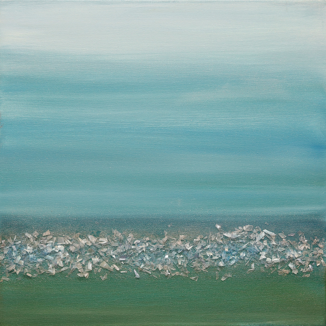 Arica Hilton, 'Color of Sound - Turquoise', 2020, Mixed Media, Oil on Canvas with Recycled Plastic, Hilton Asmus