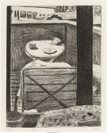 #31 from 41 Drypoints/Etchings (Looking out at desk of artist's residence)