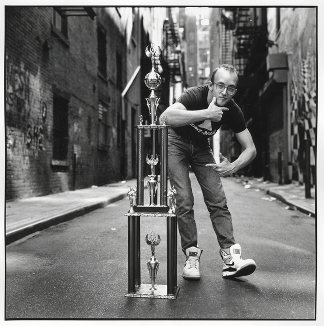 , 'Keith Haring w Love Ball Trophy  New York City  April 27, 1989,' 1989, McCaig-Welles