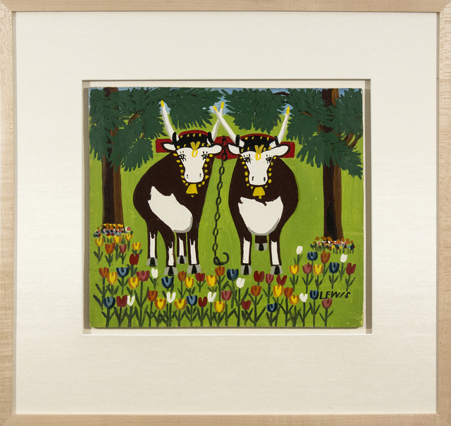 Maud Lewis, 'Two Oxen in Spring with Blue and Red Tulips', Oeno Gallery