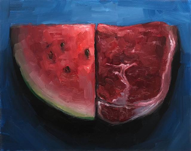 Tom Giesler, 'Quarter Sliced: seeded and seedless', 2019, Painting, Oil on panel, McVarish Gallery