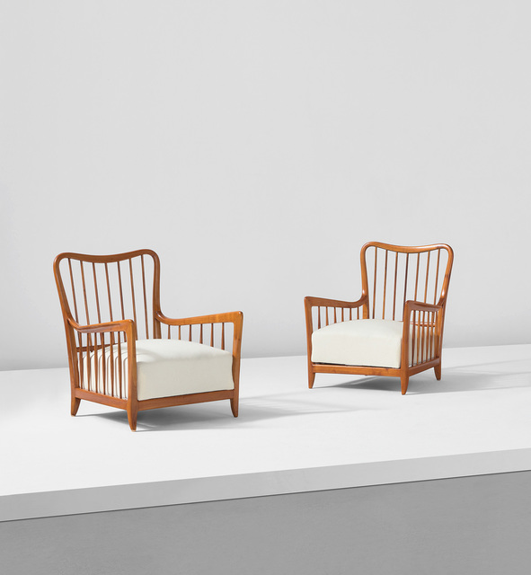 Paolo Buffa, 'Pair of armchairs', circa 1950, Design/Decorative Art, Cherry wood, fabric upholstery., Phillips