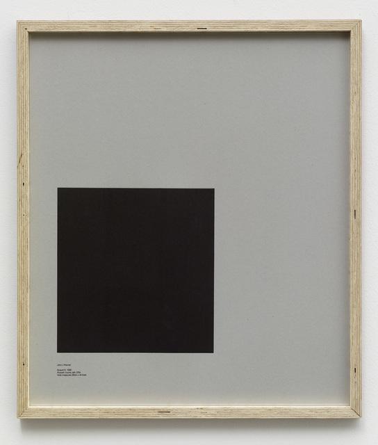 , 'Loop Holes (John J. Warner, August 8. 1968, Russel County Jail, USA, hole measures 29 x 30.5 cm),' 2014, Galleri Nicolai Wallner