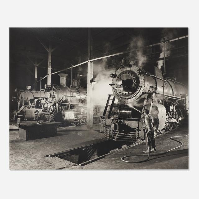 O. Winston Link, 'J. H. Pope Washes Locomotive 104, Bristol Roundhouse, Virginia', Wright