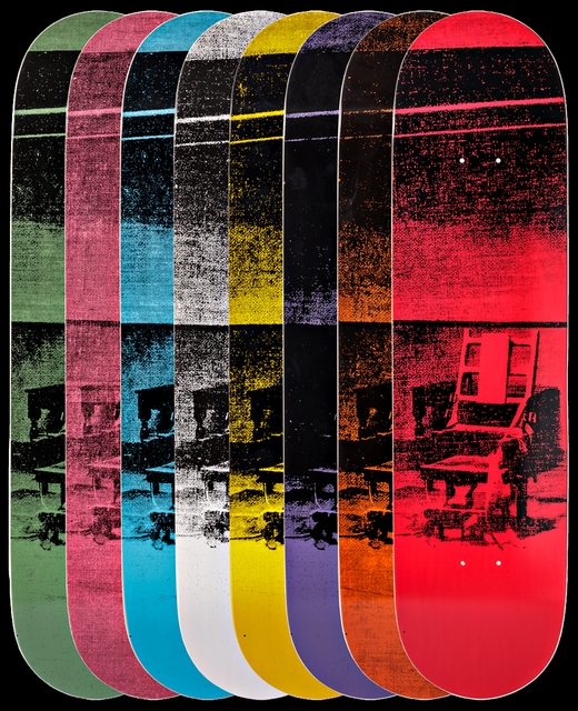 Andy Warhol, 'Gift Box Set of Eight (8) Limited Edition Colored Electric Chair Skateboard Decks ', ca. 2015, Alpha 137 Gallery