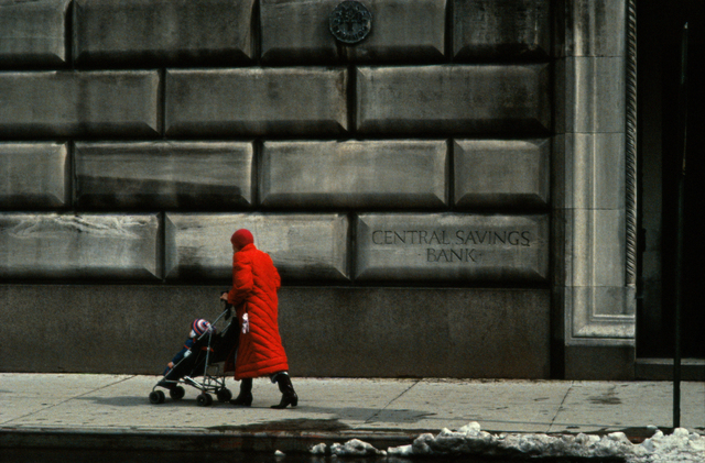 , 'Red Coat in front of Upper West Side Building, New York,' 1984, GALLERY FIFTY ONE