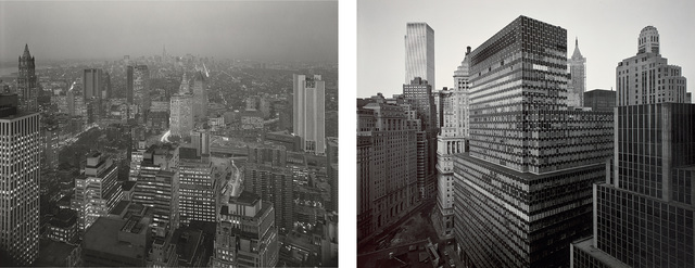 Nicholas Nixon, 'View of First National City Bank Building from Battery Plaza and View Towards Midtown from Wall Street', 1975, Photography, Two gelatin silver prints., Phillips