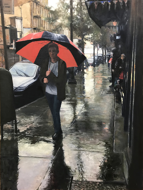 Mary Carew, 'The Red Umbrella', 2019, The Galleries at Salmagundi